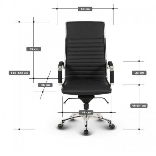 Milano kontorstol - Hvidt læder 2