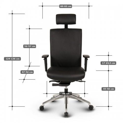 Ergonomisk kontorstol - Ergo sort læder kontorstole 3