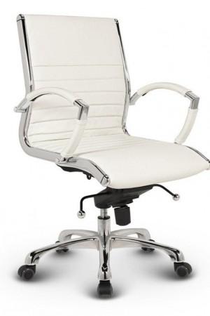 Milano kontorstol - Hvid læder med lav ryg