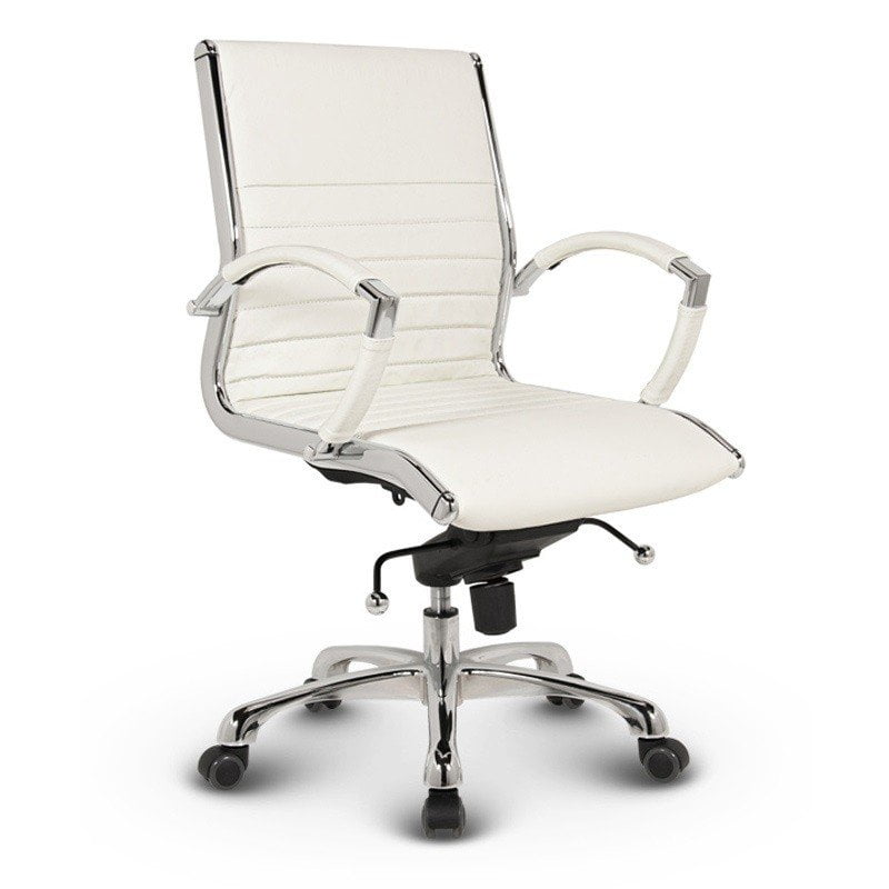 Milano kontorstol med lav ryg i hvid læder - Dankontorstole