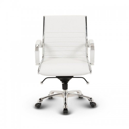 Milano kontorstol lav - Hvid læder lav rygget 5