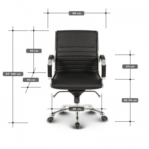 Milano kontorstol lav - Hvid læder mål og data