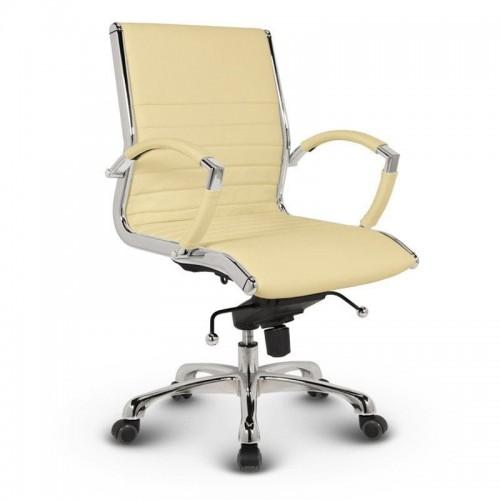 Milano kontorstol - Beige læder med lav ryg