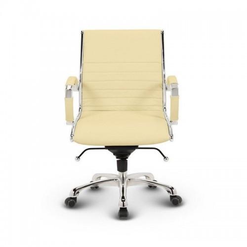 Milano kontorstol Lav - Beige læder med lav rygget 1