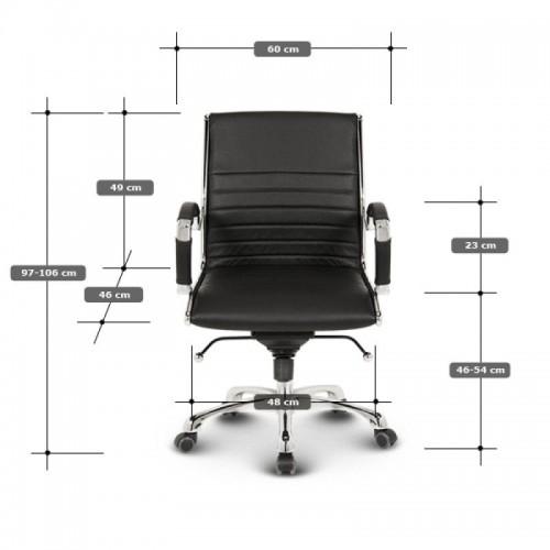 Milano kontorstol Lav - Beige læder lav rygget i sort