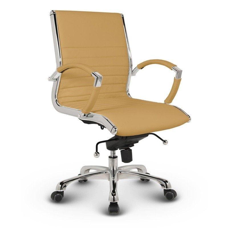 Milano kontorstol - Okker læder med lav ryg