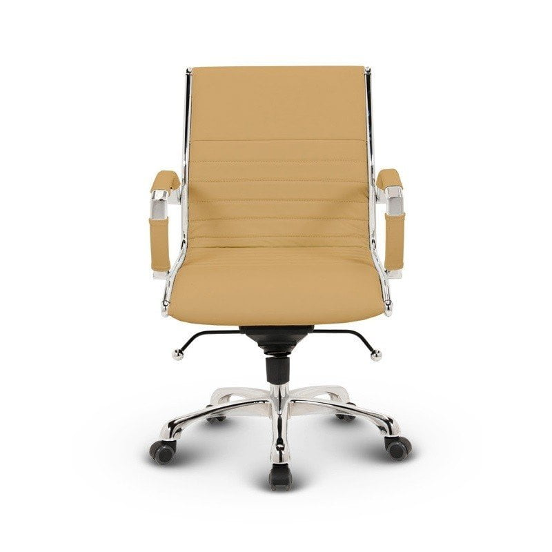 Milano kontorstol Lav - Okker læder med lav ryg 5