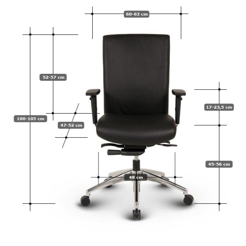 Ergo-Tec - Medium ergonomisk kontorstol læder mål