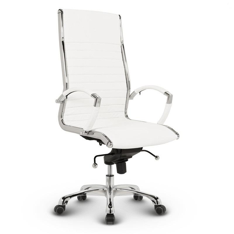Milano kontorstol - Hvidt læder