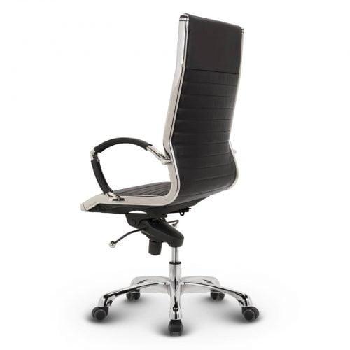 Milano sort læder kontorstol ryg